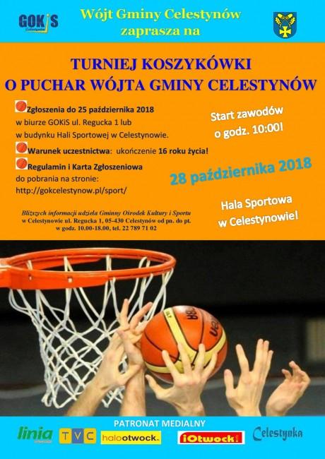 Plakat Turniej Koszykówki o Puchar Wójta Gminy Celestynów