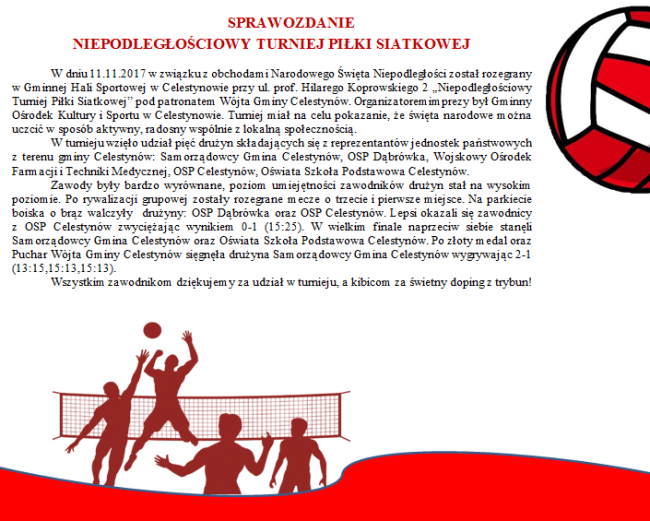 Sprawozdanie Turniej Siatkówki 11 XI na stronę