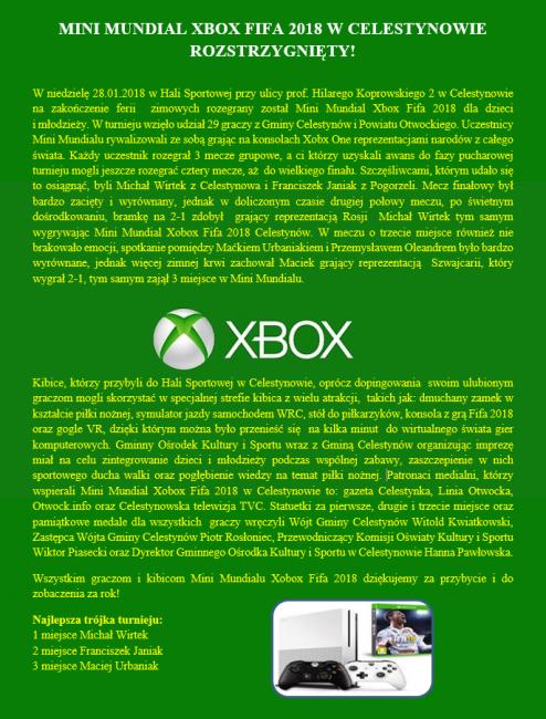 xbox sprawozdanie na stronę