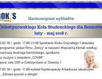 Harmonogram wykładów Celestynowskiego Koła Studenckiego dla Seniorów luty-maj 2018 r.