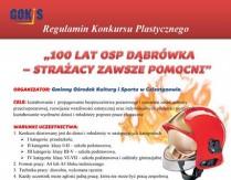 """Konkurs Plastyczny pn. """"100 lat OSP Dąbrówka – strażacy zawsze pomocni"""""""