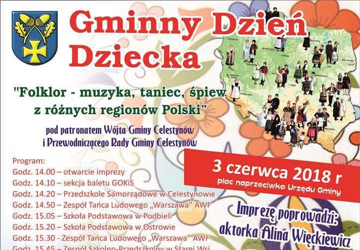 """Gminny Dzień Dziecka pn. """"Folklor – muzyka, taniec, śpiew z różnych regionów Polski"""""""