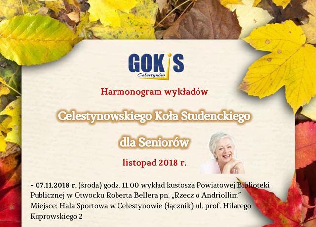 Harmonogram wykładów Celestynowskiego Koła Studenckiego dla Seniorów – listopad 2018 r.