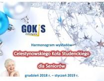 Harmonogram wykładów Celestynowskiego Koła Studenckiego dla Seniorów grudzień 2018 – styczeń 2019 r.