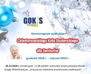 Harmonogram wykładów Celestynowskiego Koła Studenckiego dla Seniorów grudzień 2018 - styczeń 2019 r.