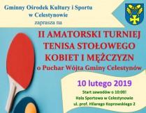 II Amatorski Turniej Tenisa Stołowego Kobiet i Mężczyzn o Puchar Wójta Gminy Celestynów