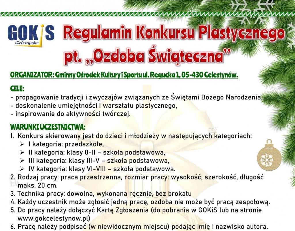 """Konkurs plastyczny dla dzieci i młodzieży pt. """"Ozdoba Świąteczna"""""""