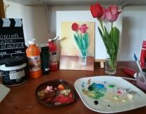 """Warsztaty artystyczne dla dorosłych – lekcja online nr 3 – """"Tulipany – farby akrylowe"""""""