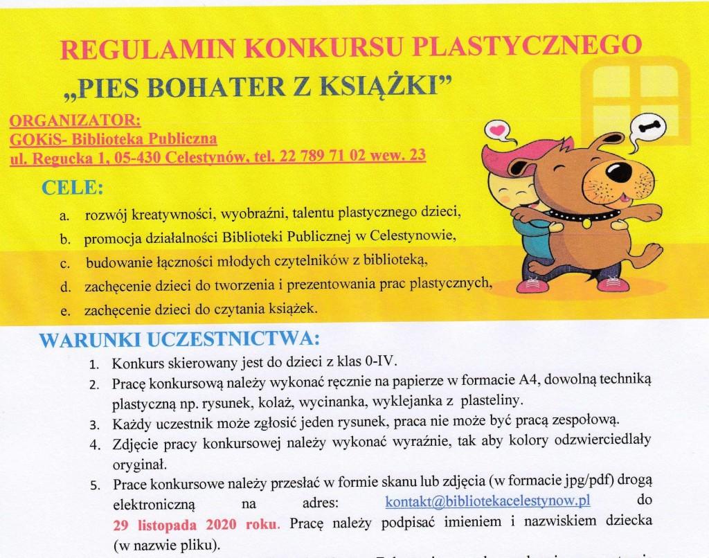 """Konkurs plastyczny dla dzieci z klas 0-IV pt. """"PIES BOHATER Z KSIĄŻKI"""""""