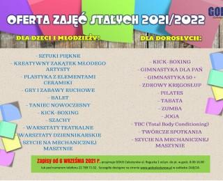 Oferta zajęć stałych dla dzieci, młodzieży oraz dorosłych w roku szkolnym 2021/2022
